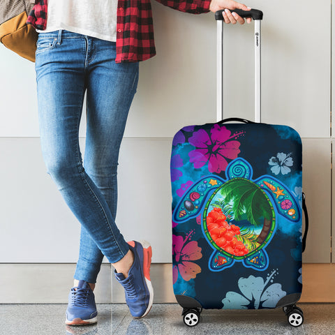 Turtle And Hibiscus Luggage Cover 03 - AH - J9 - Alohawaii