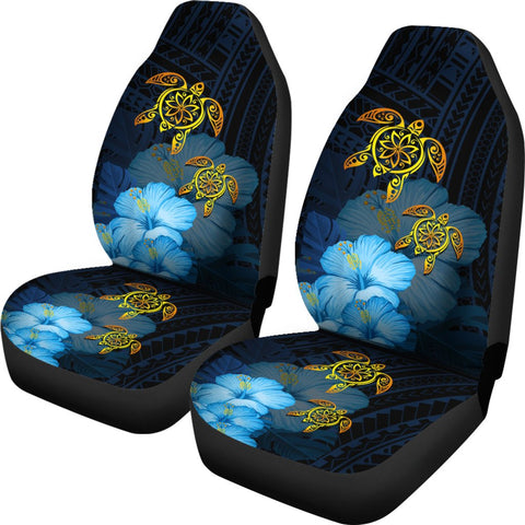 Image of Hawaii Car Seat Cover - Turtle Hibiscus Pattern Hawaiian Car Seat Cover - Blue - AH - J2