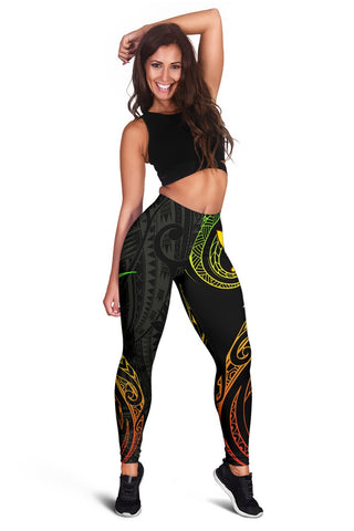 Image of Hawaiian Kanaka Polynesian Women's Leggings - Black - Hana Style - AH - J2