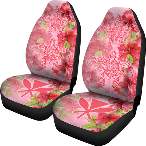 Hawaii Turtle Hibiscus Car Seat Covers - Pink Style