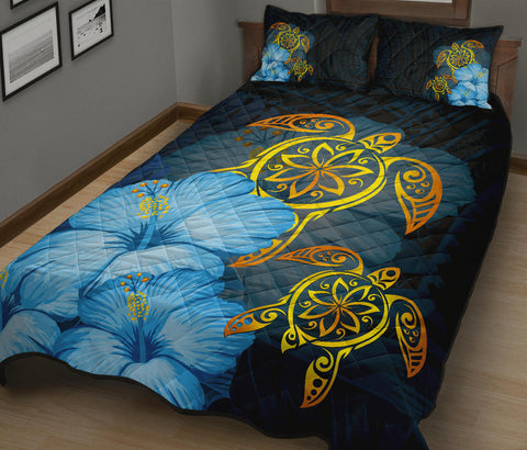 Hawaii Quilt Bed Set - Turtle Hibiscus Pattern Hawaiian Quilt Bed Set - Blue