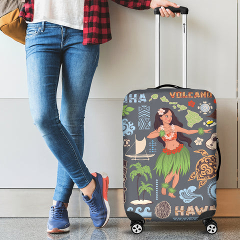 Image of Hawaiian Hula Luggage Cover - AH - J9 - Alohawaii