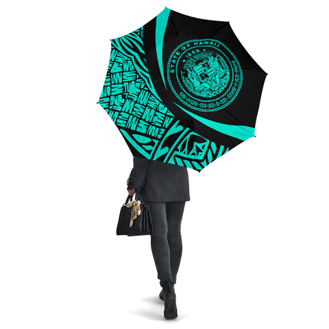 Seal Of Hawaii Umbrella Turquoise - Circle Style - AH J4 - Alohawaii