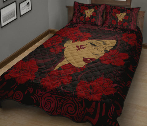 Hawaii Kanaka Polynesian Hula Girl Quilt Bed Set - Black Style - AH - JA