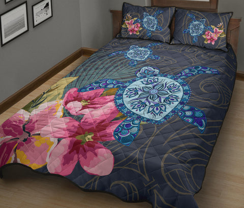 Hawaii Turtle Hibiscus Quilt Bed Set - LH Style - AH