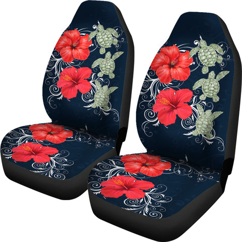Hawaii Deep Blue Hibiscus Turtle Car Seat Covers