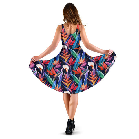 Hawaii Tropical Flower Midi Dress   - AH - J71