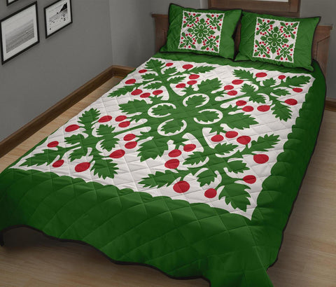 Image of Hawaiian Quilt Bed Set Fresh Fruit Tropical Pattern - Green