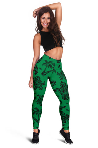 Polynesian Turtle Palm And Sea Pebbles Green Hawaii Women's Leggings AH J2