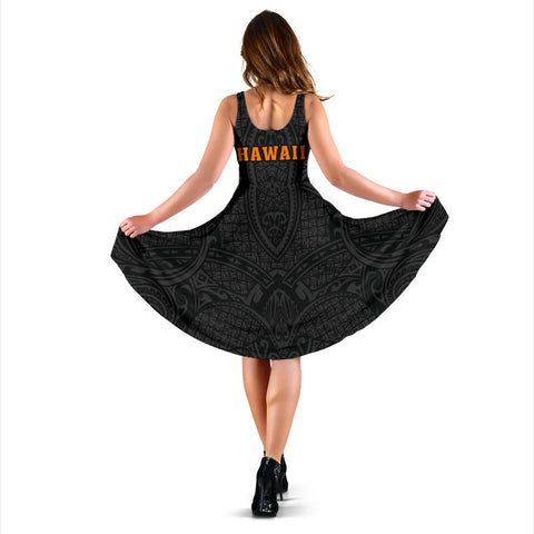 Hula Girl And Turtle Hibiscus Midi Dress - AH J4