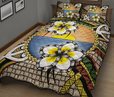 Hawaii Plumeria Pattern Limited Quilt Bed Set - AH - J4 - Alohawaii