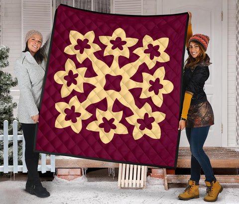 Hawaiian Premium Quilt Royal Pattern - Burgundy - A1 Style