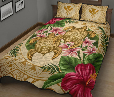 Alohawaii Quilt Bed Set - Turtle Strong Pattern Hibiscus Plumeria AH J1 - Alohawaii