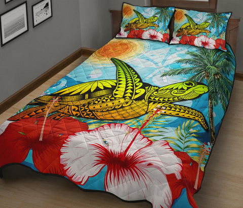 Hawaii Turtle Sea Hibiscus Quilt Bed Set - Sun Style - AH - J4 - Alohawaii