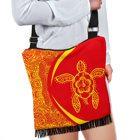 Hawaii Crossbody Boho Handbag Turtle Polynesian - Circle Style Red And Yellow - AH - J71 - Alohawaii