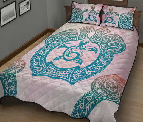 Image of Hawaii Quilt Bed Set Polynesian Turtle Hawaiian Quilt Bed Set