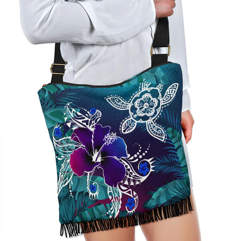 Image of Alohawaii Crossbody Boho Handbag - Hawaii Turtle Flowers And Palms Retro - AH J8