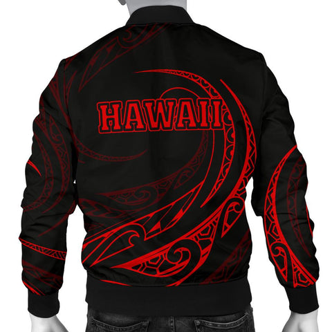 Image of Hawaii Turtle Polynesian Menʻs Bomber Jacket - Red - Frida Style - AH J9