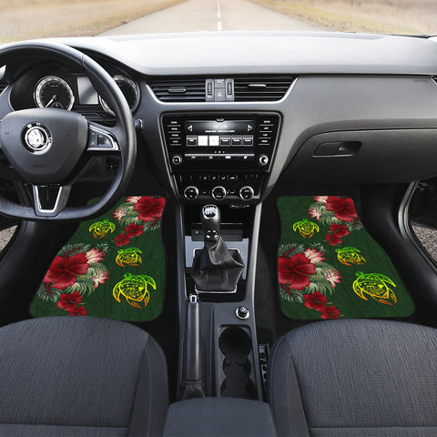 Hawaii Car Floor Mats - Turtle Hibiscus Pattern Hawaiian Car Floor Mats - Green