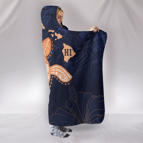Hawaii Kakau Polynesian Turtle Map Hooded Blanket