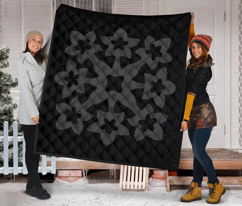 Hawaiian Premium Quilt Royal Pattern - Black And Grey - A1 Style