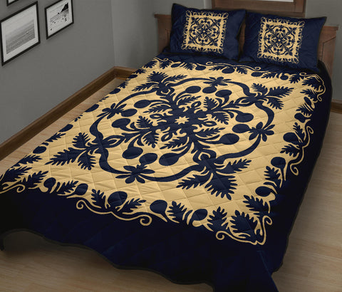 Hawaii Quilt Bed Set Royal Pattern - Indigo - AH - J6 - Alohawaii