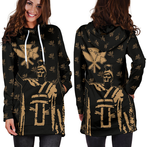Image of Hawaii King Kanaka Maoli Golden Women's Hoodie Dress - AH J1 - Alohawaii
