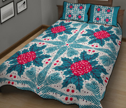 Hawaii Pattern Christmas Tropical Hawaiian Quilt Bed Set - Zoo Style