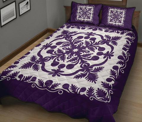 Hawaii Quilt Bed Set Royal Pattern - Purple And White - AH - J3 - Alohawaii