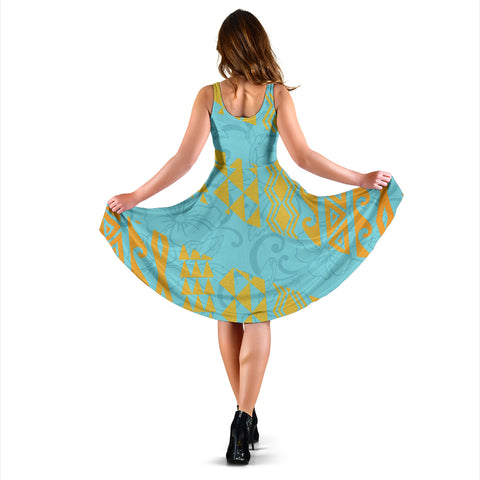 Hawaii Hibistus and Kakau Pattern Midi Dress - AH J5 - Alohawaii