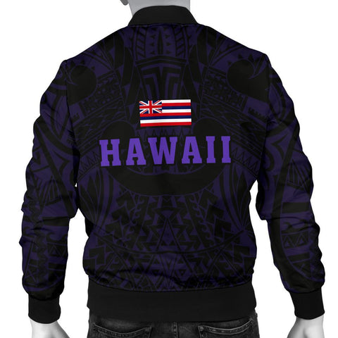 Hawaii Wild Boar Kamapua'a Men's Bomber Jacket - Purple - Hawaiian Mythology Style - AH - J6 - Alohawaii