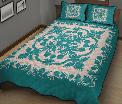 Hawaiian Quilt Bed Set Royal Pattern - Turquoise - AH - J6 - Alohawaii