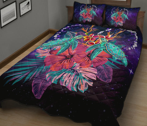 Hawaii Couple Turtle Hibiscus Tropical Quilt Bed Set - Huxley Style - AH - J2