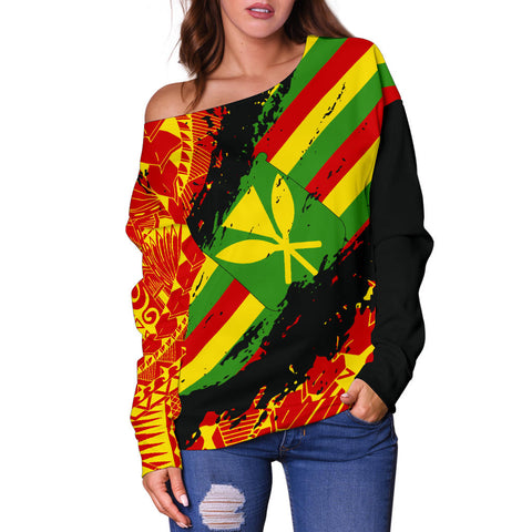 Kanaka Flag Polynesian Women's Off Shoulder Sweater