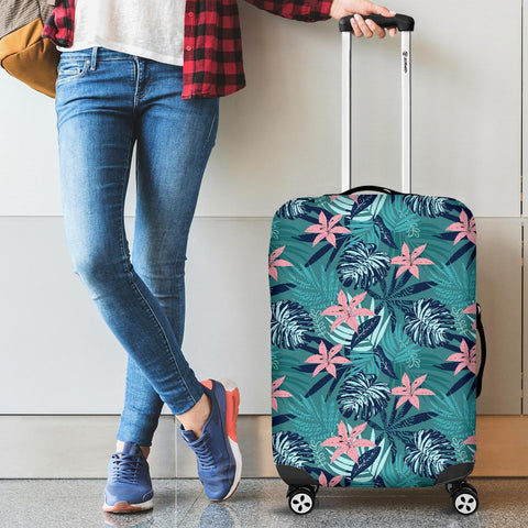 Hawaii Tropical Monstera Leaf Blue Luggage Cover - AH - J1 - Alohawaii