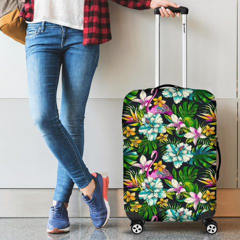 Animals And Tropical Flowers Luggage Cover - AH - J1 - Alohawaii