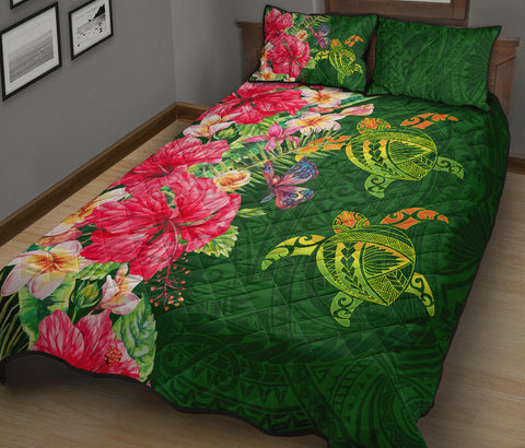 Hawaii Turtle Hibiscus Plumeria Polynesian Quilt Bed Set - Cala Style - AH - J2