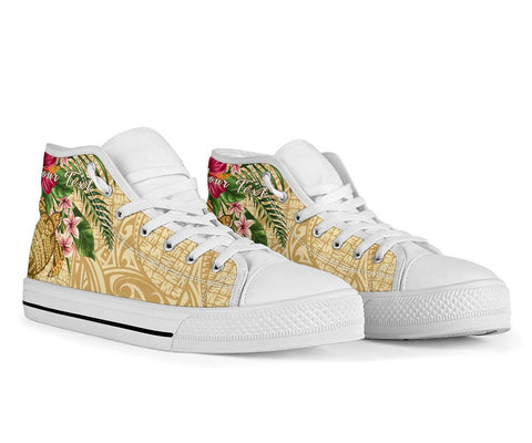Alohawaii High Top Shoe - Turtle High Top Shoe Strong Pattern Hibiscus Plumeria AH J1 - Alohawaii