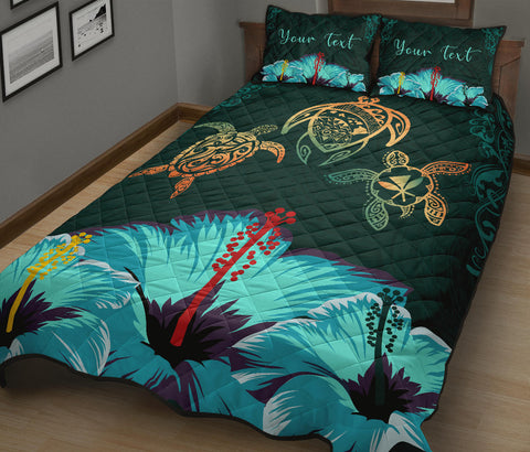 Image of Personalized - Hawaii Map Turtle Hibiscus Polynesian Luxury Quilt Bed Set - Honu Ohana - AH - J6 - Alohawaii