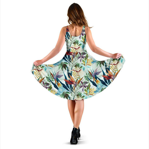 Hawaii Tropical Flower, Plant And Leaf Pattern Midi Dress   - AH - J71