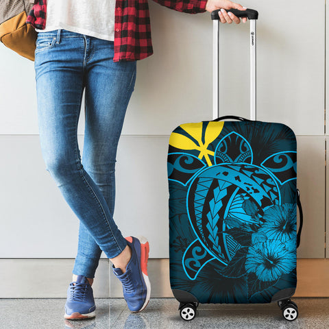 Hawaii Hibiscus Luggage Cover - Harold Turtle - Traffic Blue - AH J9 - Alohawaii