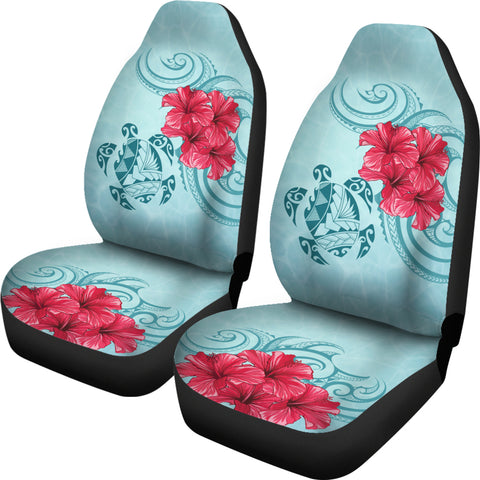 Image of Hawaii Polynesian Turtle Hibiscus Blue Car Seat Cover