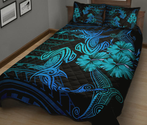 Hawaii Couple Shark Hibiscus Polynesian Quilt Bed Set - Blue - Mina Style - AH - J2