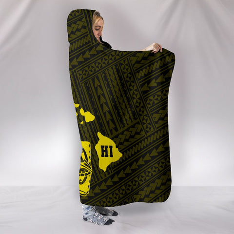 Hawaii Shark Yellow Polynesian Hooded Blanket - AH - J1 - Alohawaii