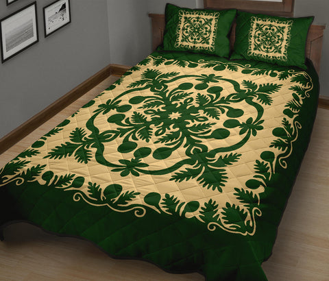 Hawaiian Quilt Bed Set Royal Pattern - Emerald Green - AH - J6 - Alohawaii