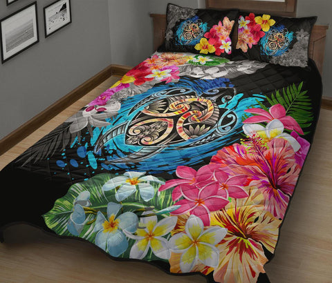 Hawaii Plumeria Hibiscus Wave Turtle Quilt Bed Set - AH - J5 - Alohawaii