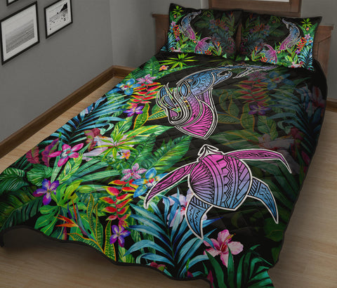Hawaii Shark Turtle Tropical Polynesian Quilt Bed Set