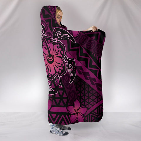 Hawaii Mix Polynesian Turtle Plumeria Hooded Blanket - AH - Nick Style - Pink - J5 - Alohawaii