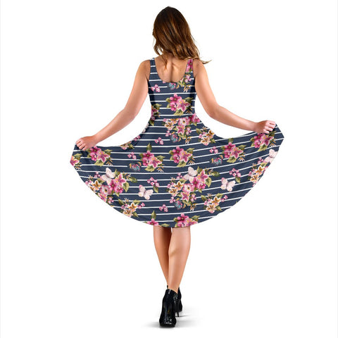 Hawaii Tropical Butterfly Pink Midi Dress   - AH - J71 - Alohawaii