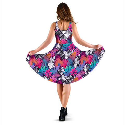 Hawaii Tropical Exotic Leaves And Flowers On Geometrical Ornament. Midi Dress   - AH - J71
